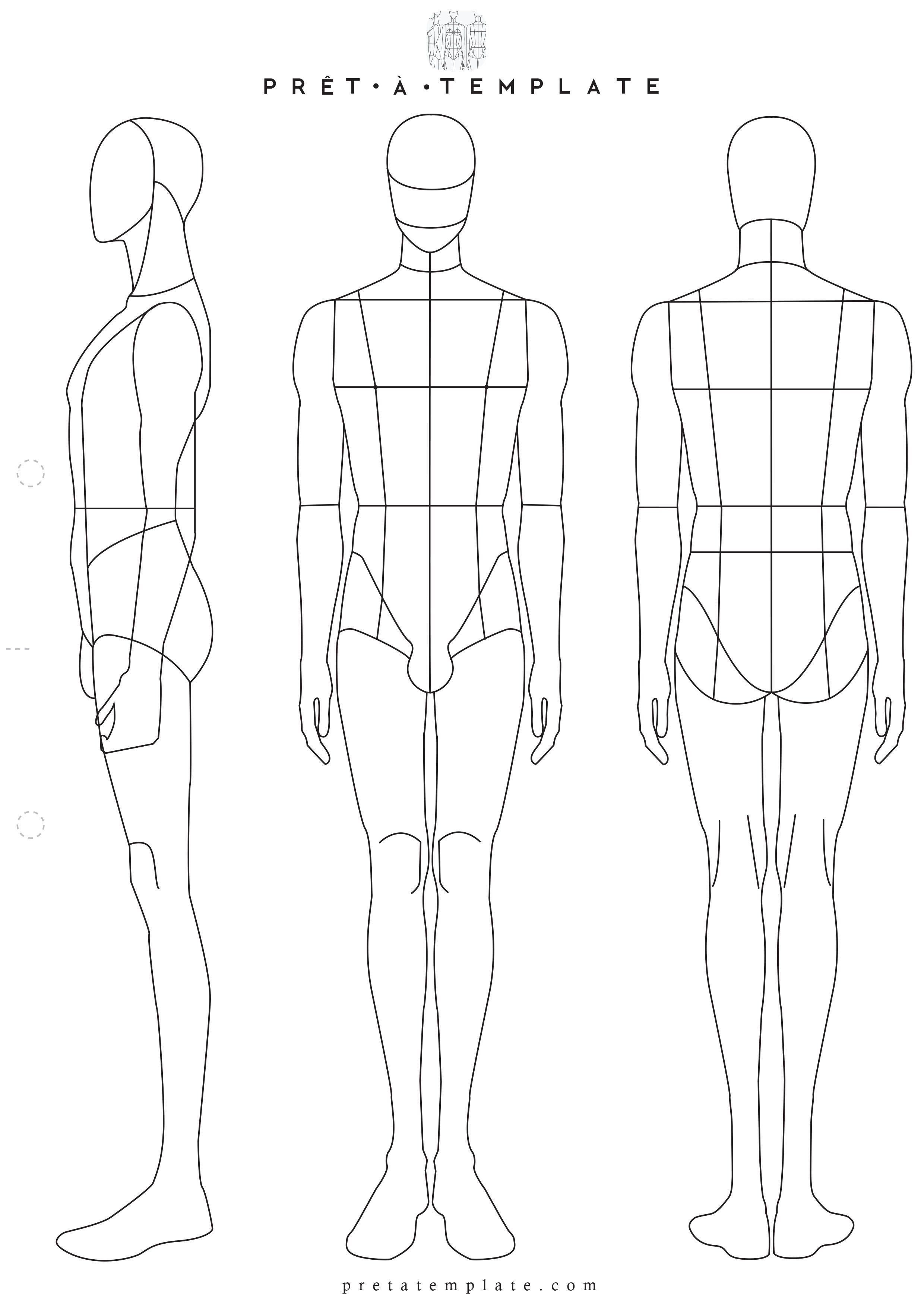 Body Template for Fashion Design Man Male Body Figure Fashion Template D I Y Your Own