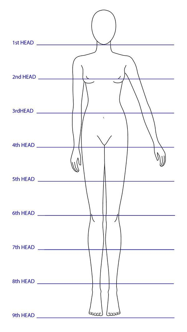 Body Template for Fashion Design Template Pen Ink Watercolor Prints