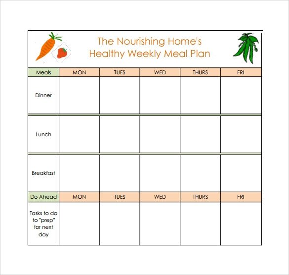 Bodybuilding Meal Planner Template 18 Meal Planning Templates Pdf Excel Word