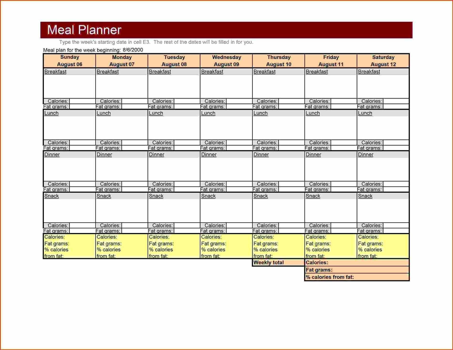 Bodybuilding Meal Planner Template Large Weekly Menu Template Excel Meal Planner