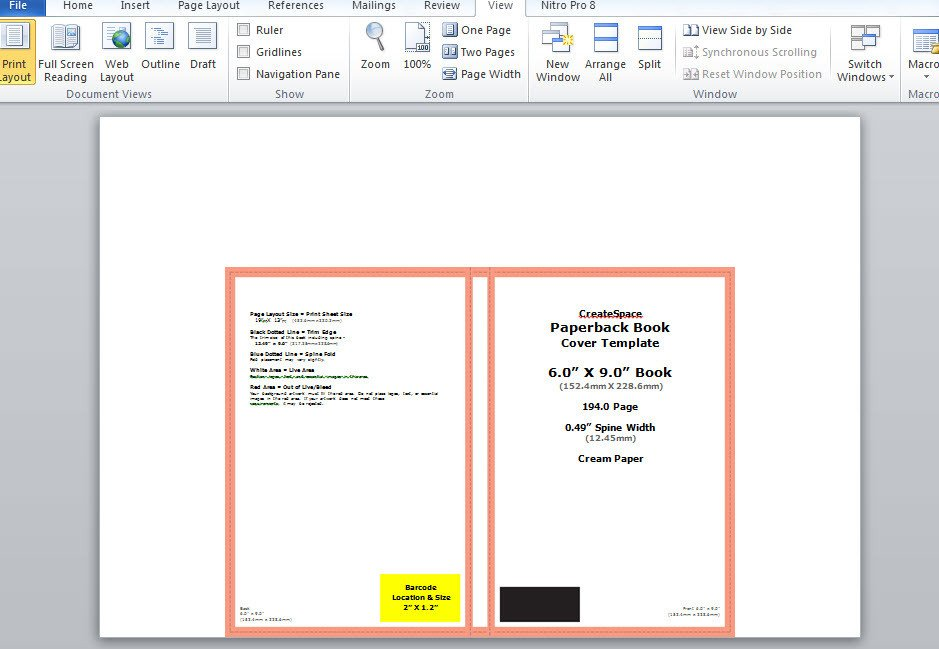 Book Cover Template Word How to Make A Full Print Book Cover In Microsoft Word for