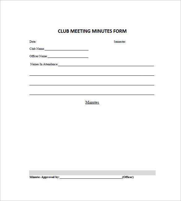 Booster Club Meeting Minutes Template 13 Club Meeting Minutes Templates Doc Excel Pdf