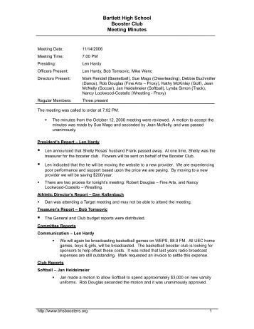 Booster Club Meeting Minutes Template Booster Club Meeting Minutes 1 9 13 Shs Booster Club