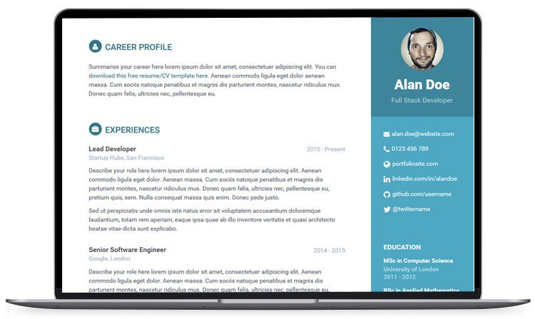 Bootstrap Resume Template Free 100 Free Bootstrap HTML5 Templates for Responsive Website
