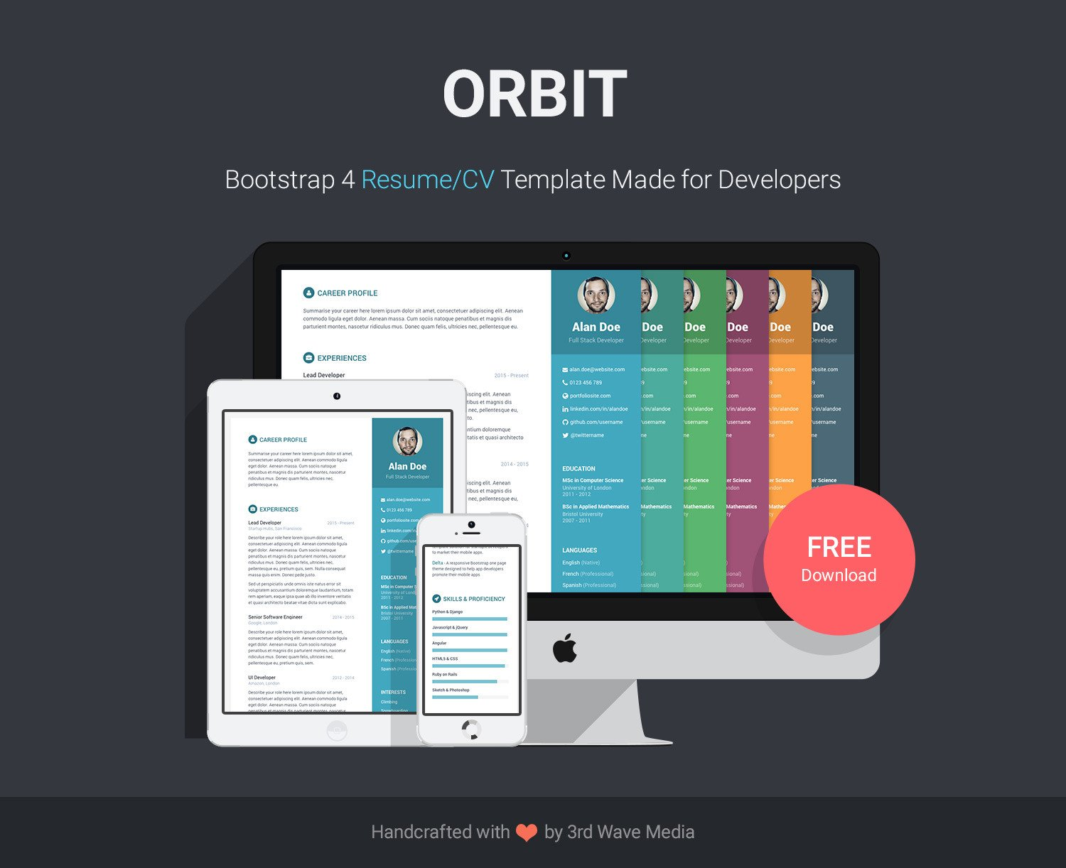 Bootstrap Resume Template Free Free Bootstrap Resume Cv Template for Developers orbit