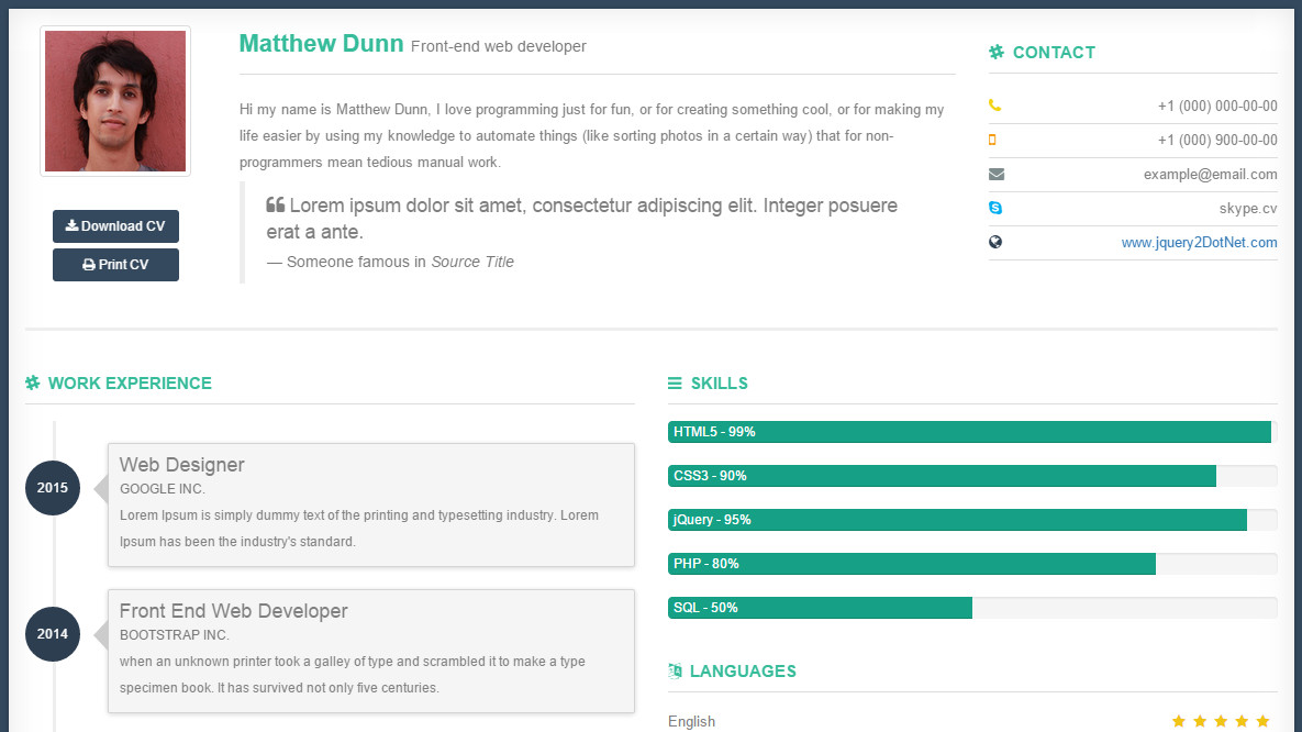 Bootstrap Resume Template Free Free Bootstrap Template Jquery2dotnet