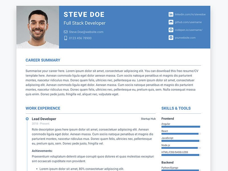Bootstrap Resume Template Free Pillar Free Bootstrap 4 Resume Cv Template for