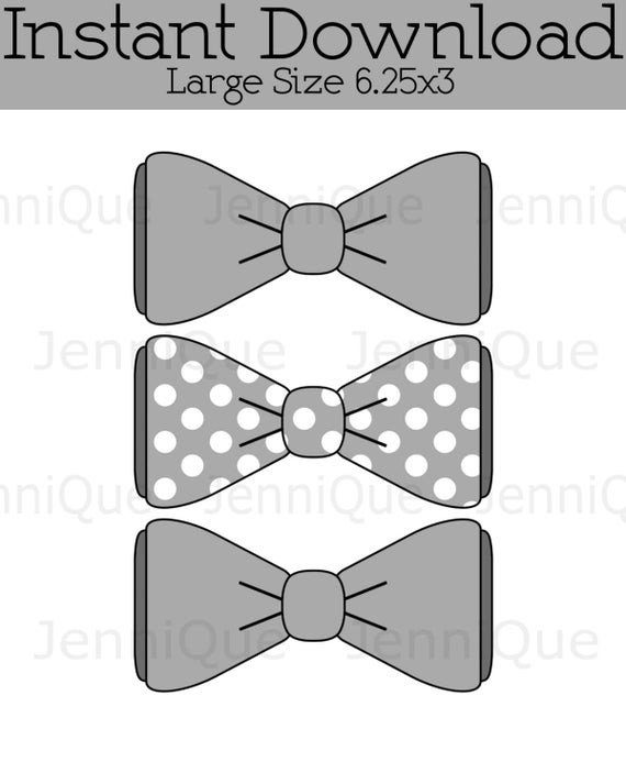 Bow Tie Cut Out Printable Bow Tie Grey Bow Tie Cut Outs Bow Tie Baby Shower