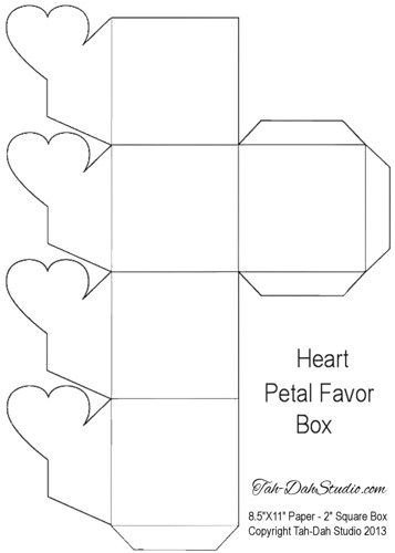 Box Templates Free Printable Petal Gift Favor Gable Box Party Heart Hearts Printable