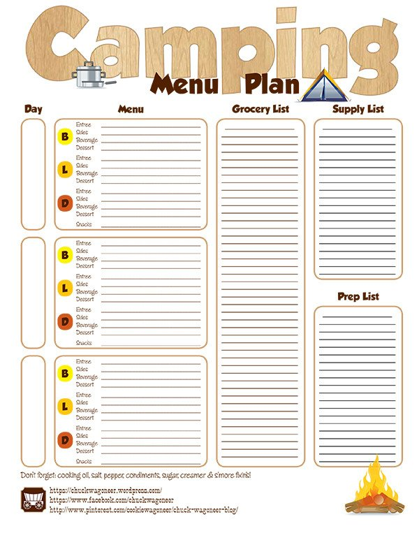 Boy Scout Meal Planning Template Step by Step Camp Menu Planning