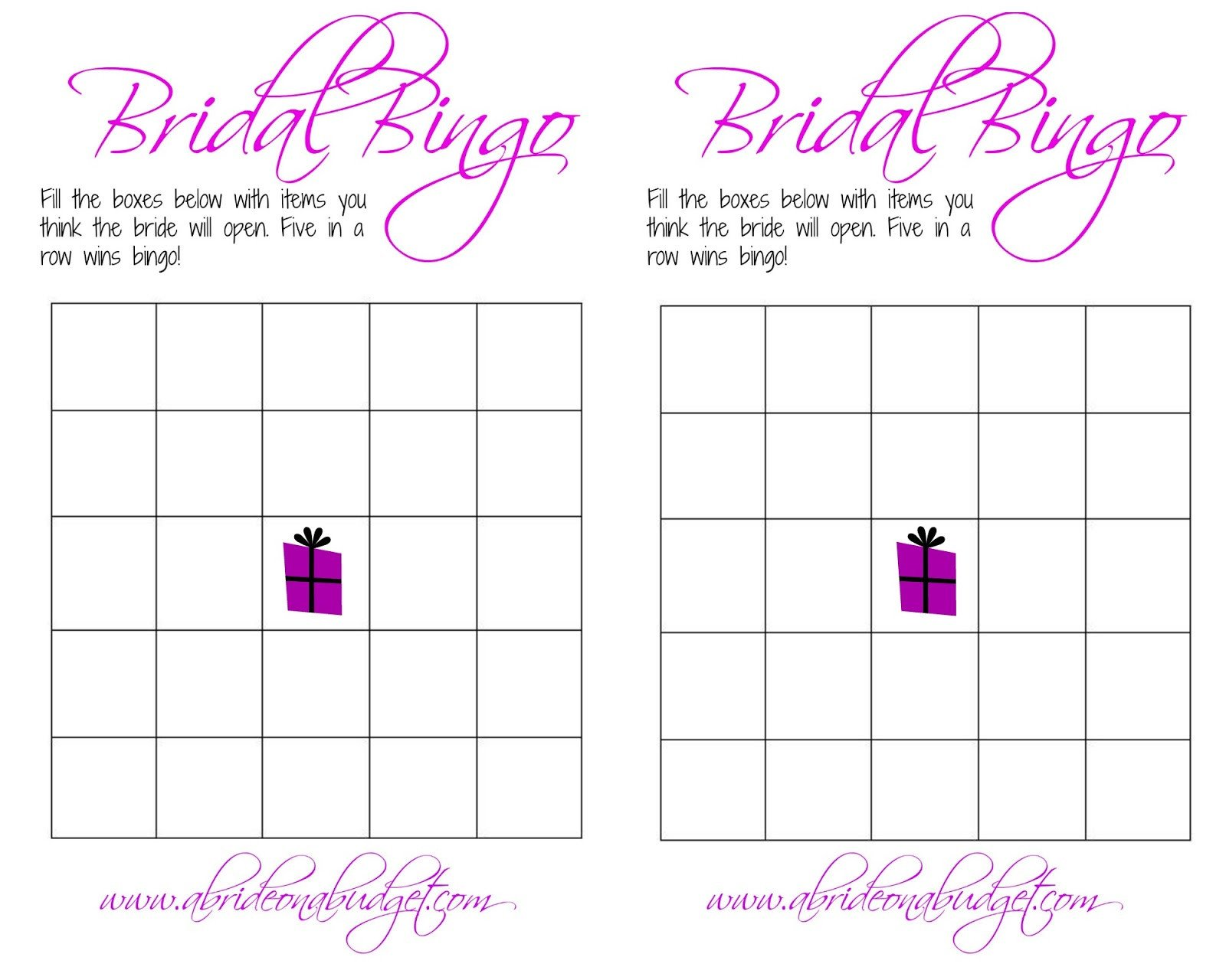 Bridal Bingo Free Template Blank Bridal Bingo and A Free Printable