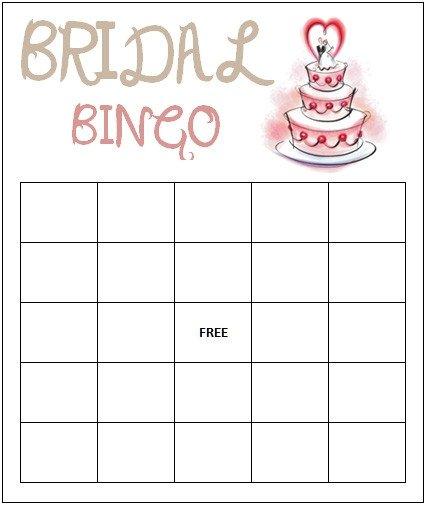 Bridal Bingo Free Template Blank Bridal Bingo Template
