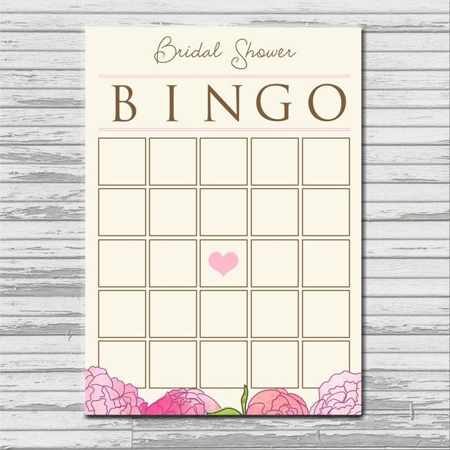 Bridal Bingo Free Template Blank Bridal Shower Bingo Card Instant Printable