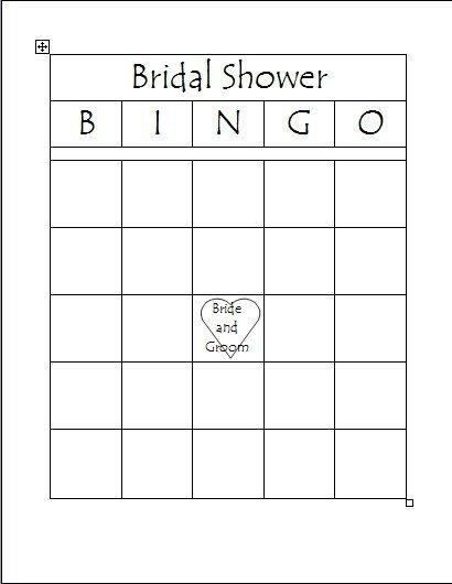 Bridal Bingo Free Template Blank Free Printable Bridal Bingo Template