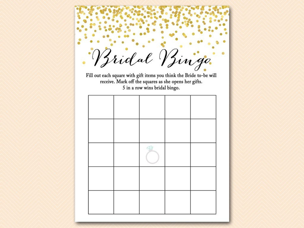 Bridal Bingo Free Template Blank Gold Confetti Bridal Shower Game Mega Pack Magical Printable