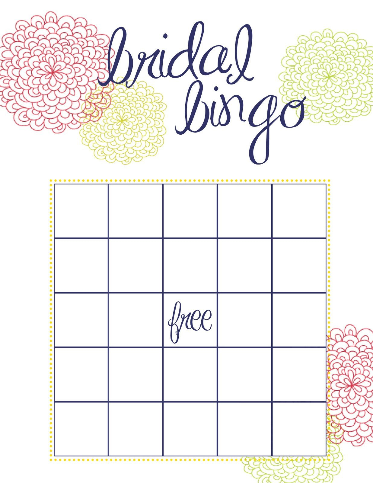 Bridal Bingo Free Template Blank How to Throw the Best Bridal Shower Pretty Happy Love