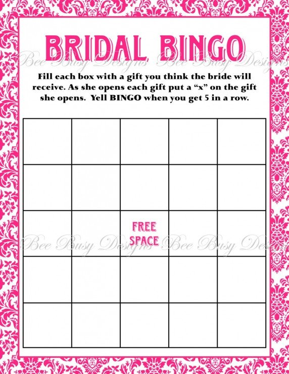 Bridal Bingo Free Template Blank Printable Hot Pink Damask Bridal Shower Bingo Game