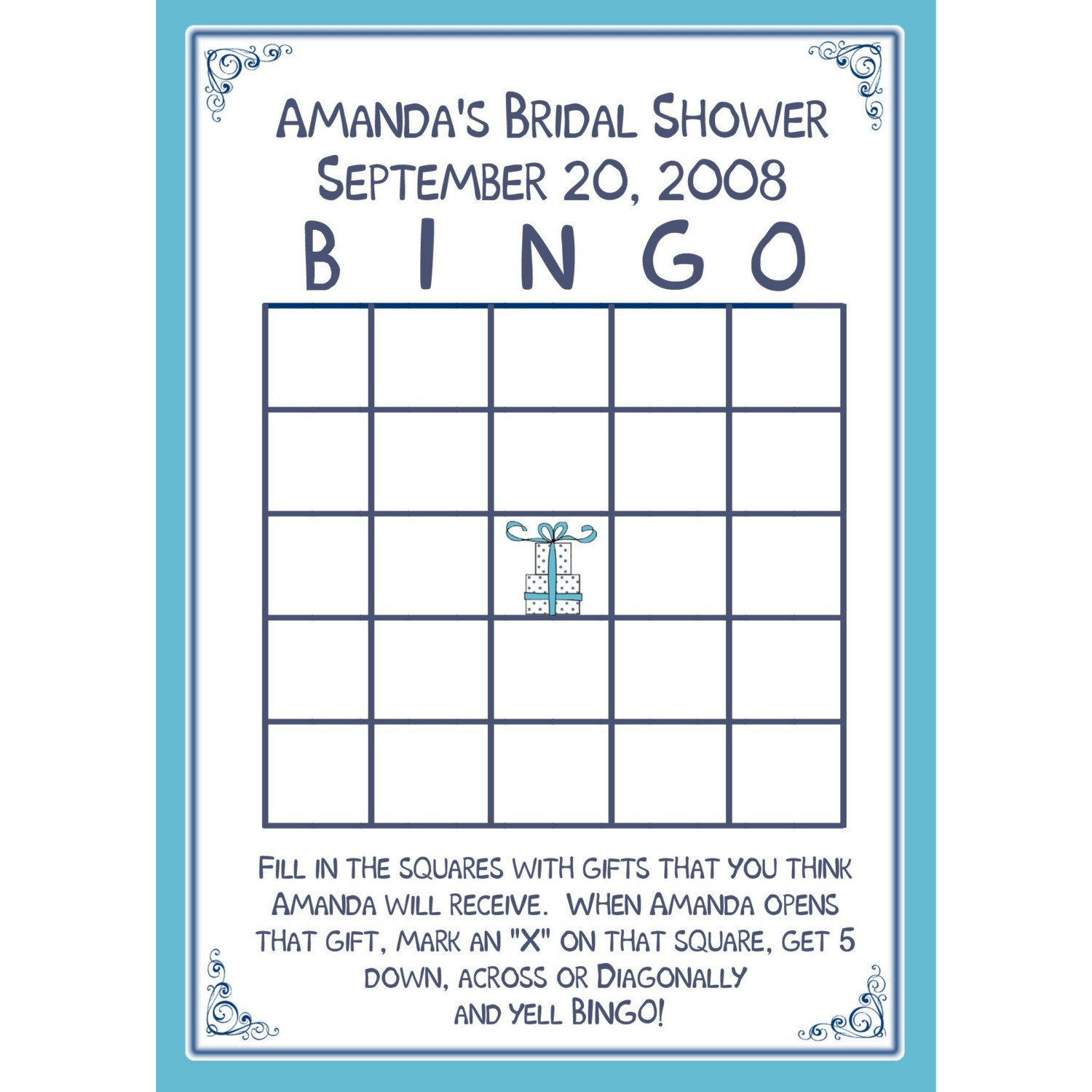 Bridal Shower Bingo Template 24 Bridal Shower Bingo Card Game Personalized