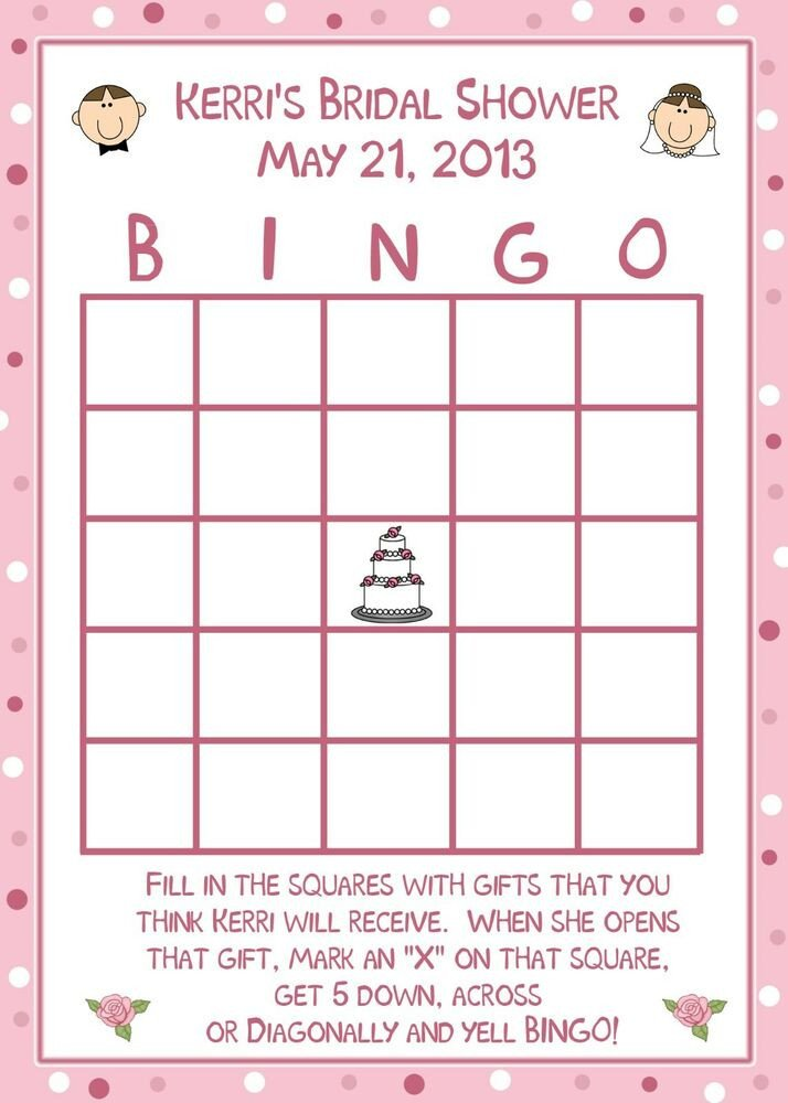 Bridal Shower Bingo Template 24 Personalized Bridal Shower Bingo Cards Happy Couple