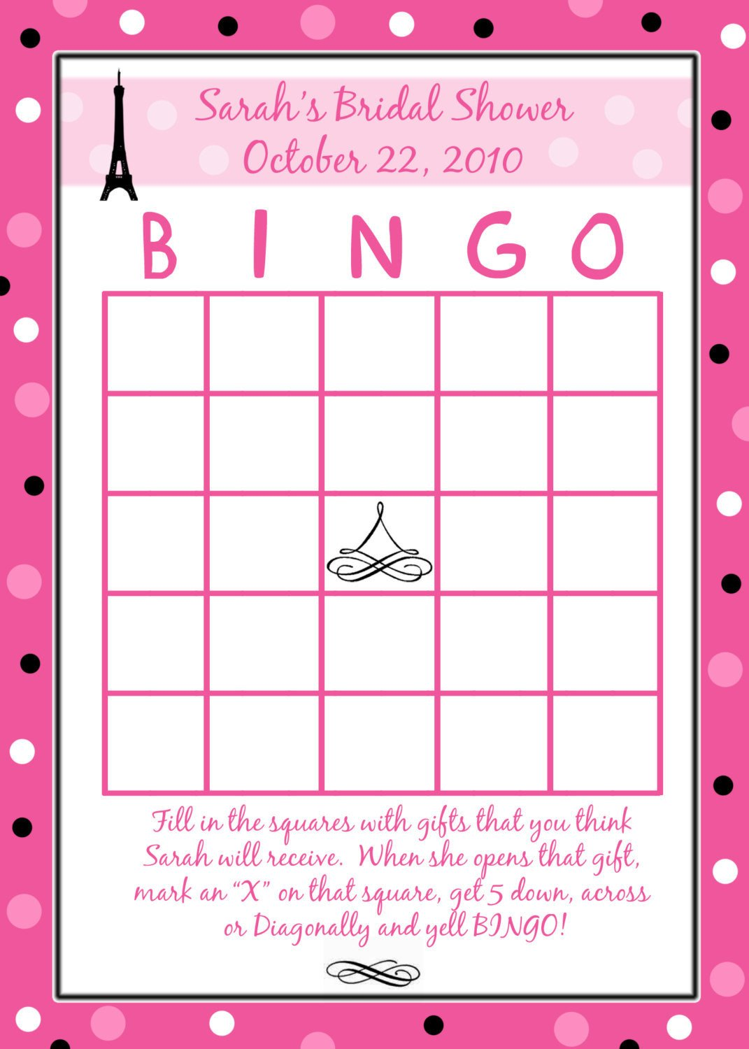 Bridal Shower Bingo Template 24 Personalized Bridal Shower Bingo Cards Paris Style