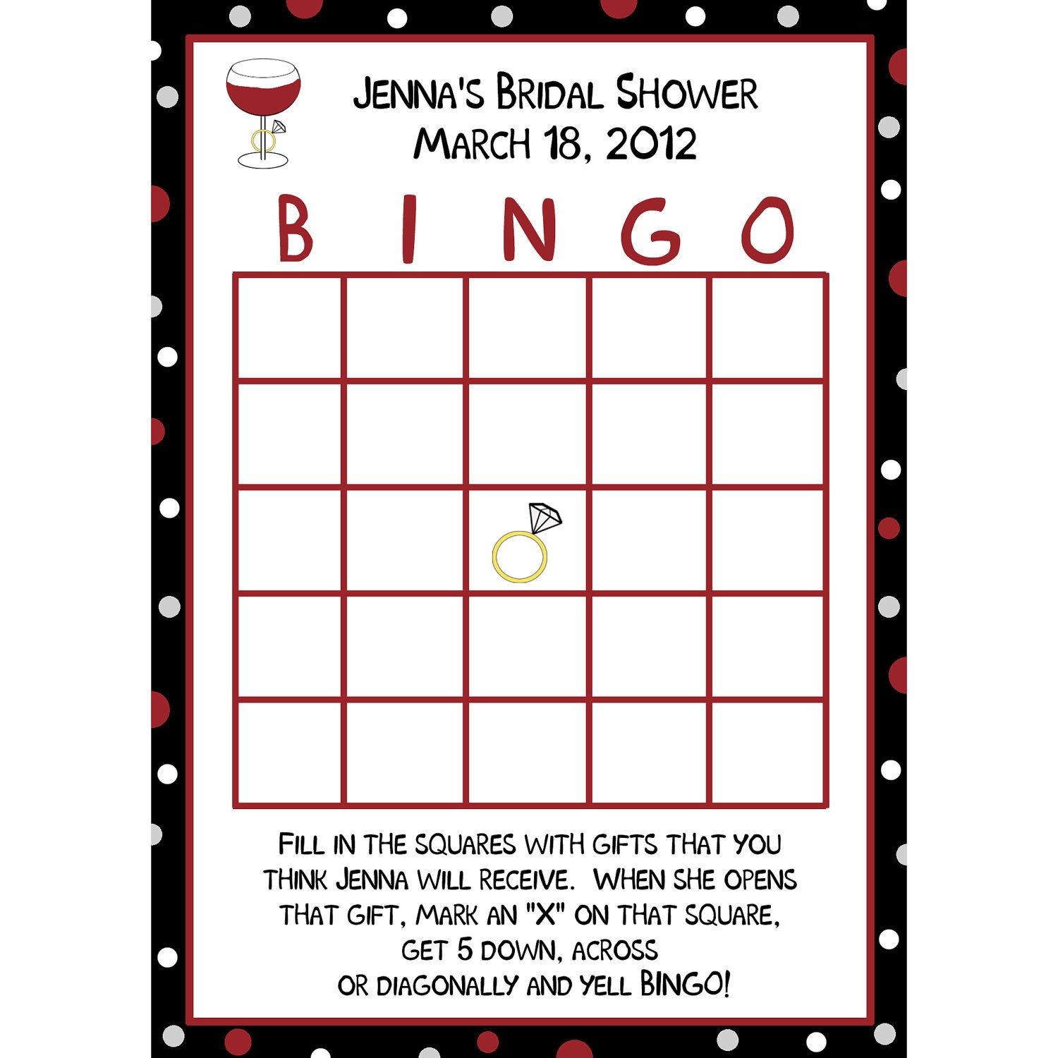 Bridal Shower Bingo Template 24 Personalized Bridal Shower Bingo Cards Wine and Ring