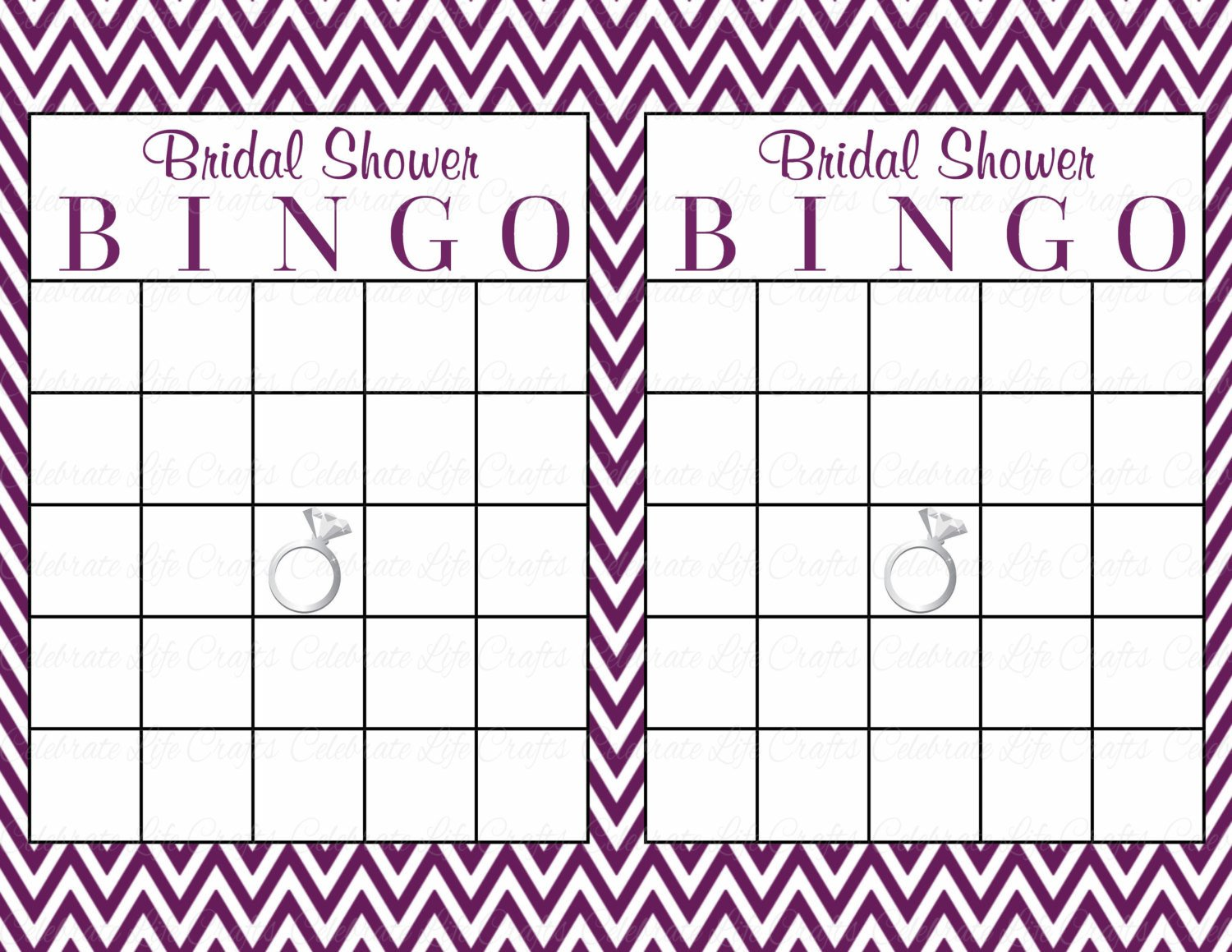 Bridal Shower Bingo Template 60 Bridal Bingo Cards Blank & 60 Prefilled Cards Printable