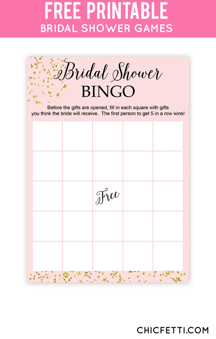 Bridal Shower Bingo Template Blush and Confetti Bridal Shower Bingo