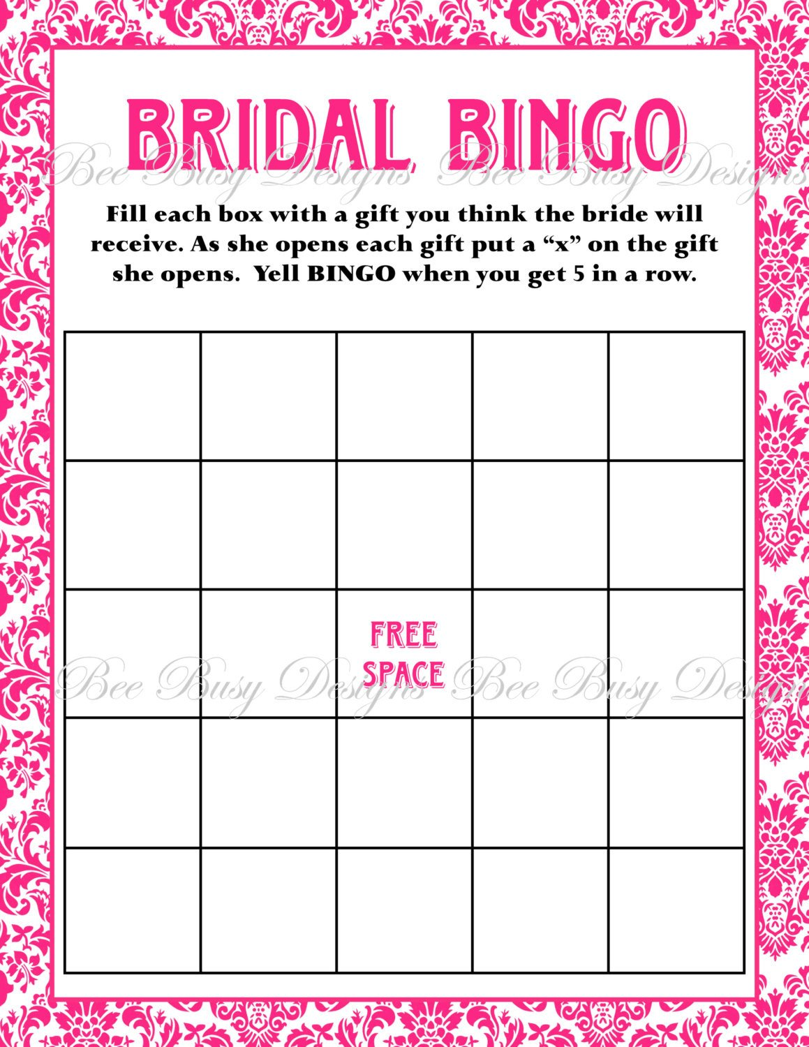 Bridal Shower Bingo Template Bridal Bingo Template