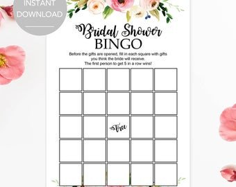 Bridal Shower Bingo Template Bridal Shower Bingo