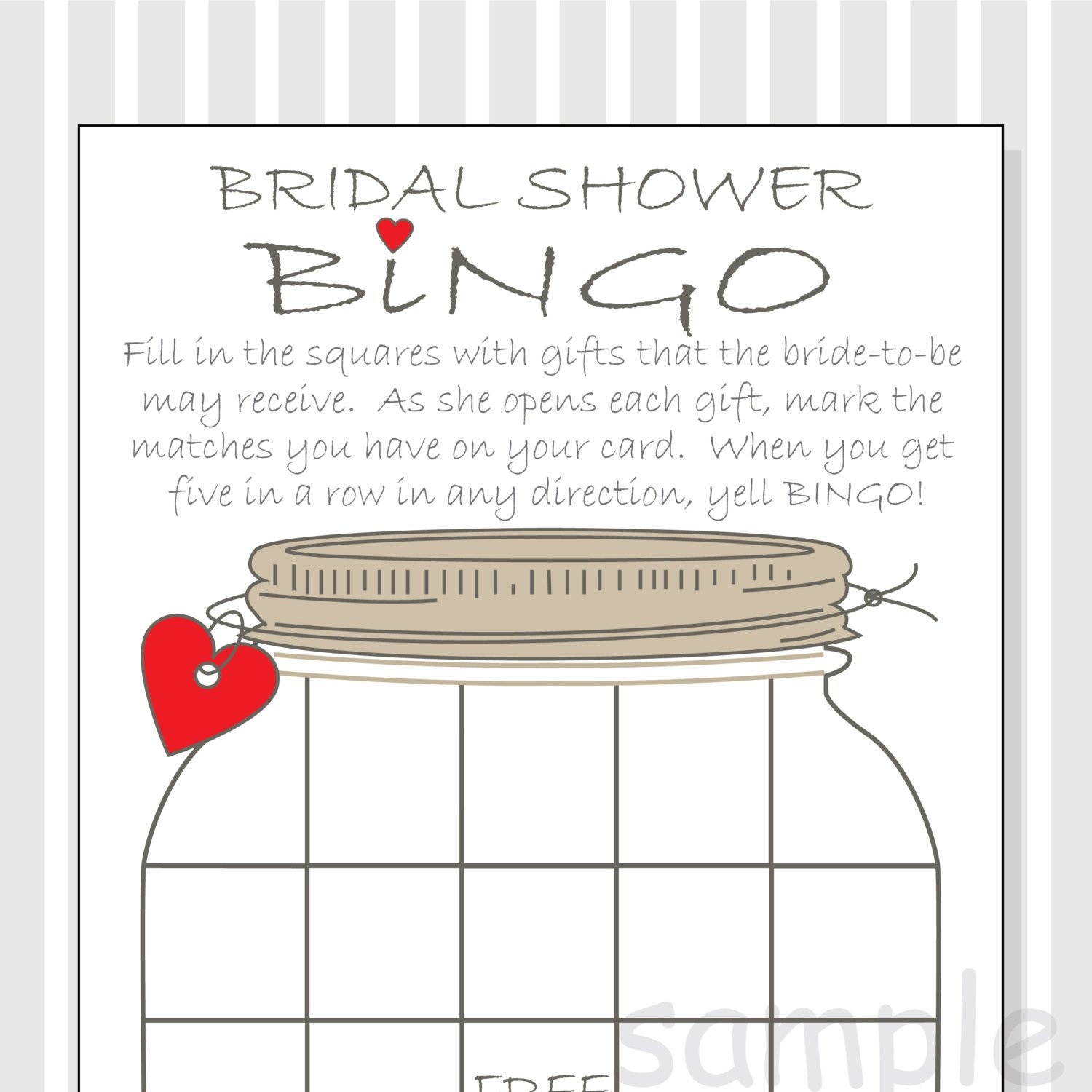 Bridal Shower Bingo Template Bridal Shower Bingo Printable Cards Gift Bingo Rustic