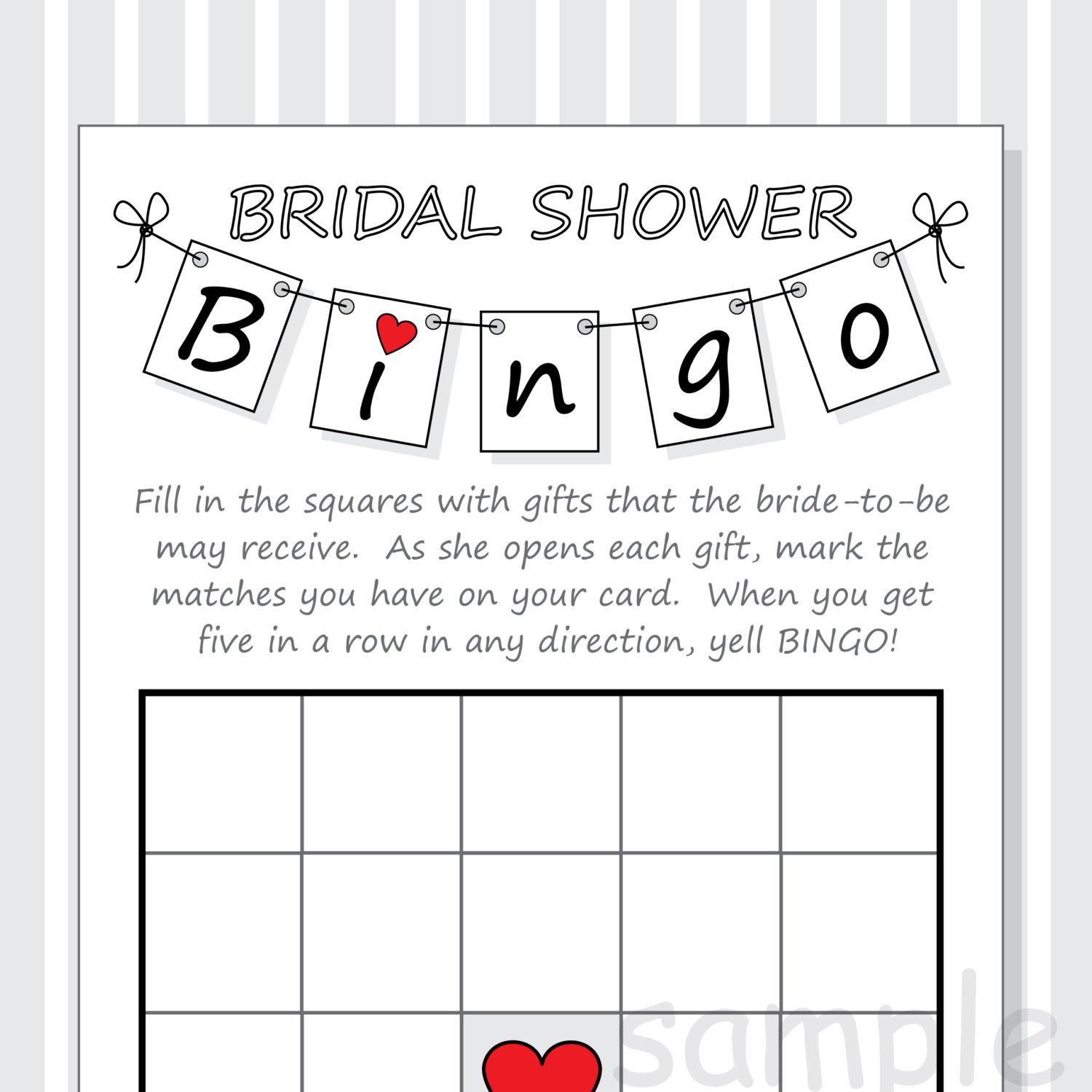 Bridal Shower Bingo Template Diy Bridal Shower Bingo Printable Cards Pennant Design Red