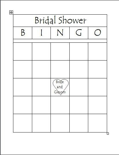 Bridal Shower Bingo Template Free Printable Bridal Bingo Template