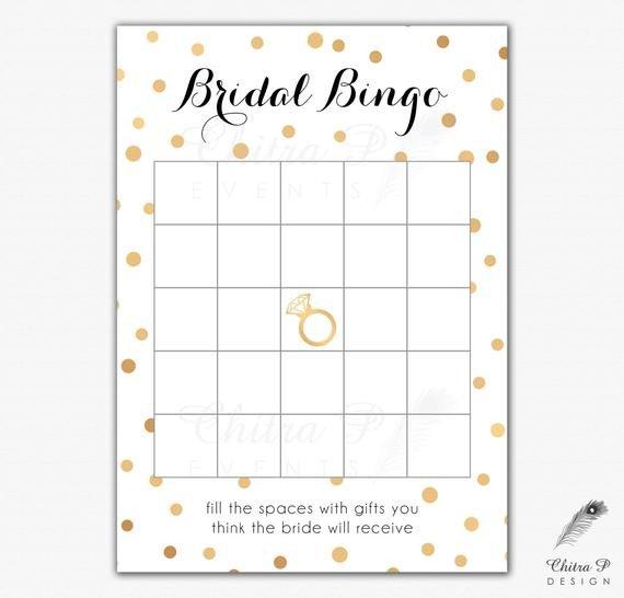 Bridal Shower Bingo Templates Black & Gold Bridal Shower Bingo Cards Printed or Printable