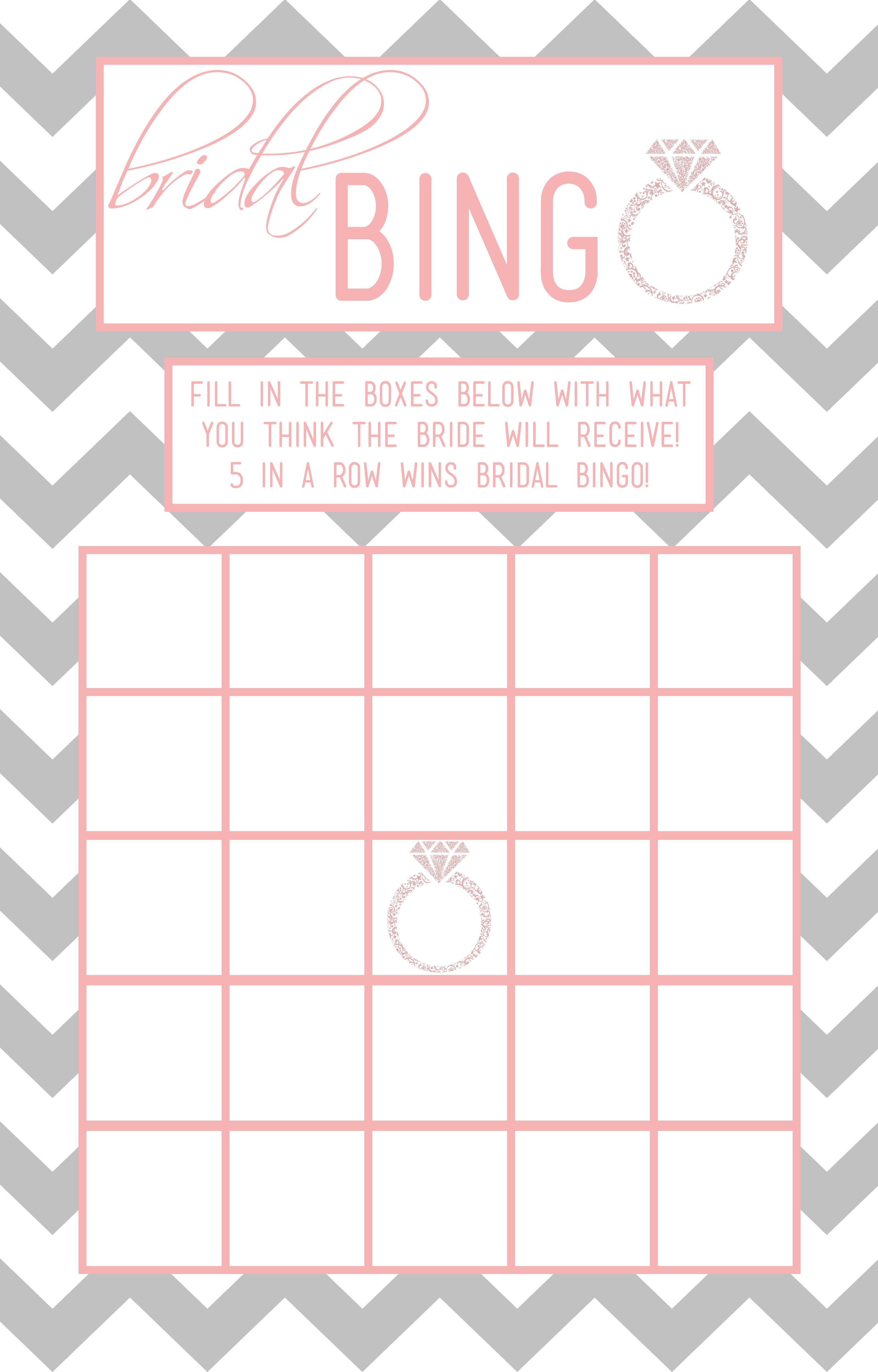 Bridal Shower Bingo Templates Bridal Bingo A Dash Chaos