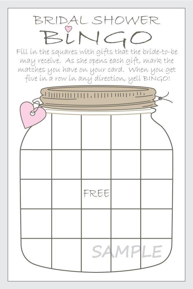 Bridal Shower Bingo Templates Bridal Shower Bingo Printable Cards Gift Bingo Rustic