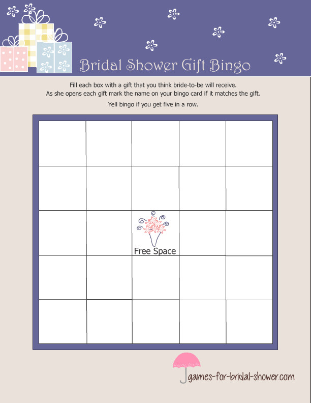 Bridal Shower Bingo Templates Free Printable Bridal Shower Gift Bingo Game
