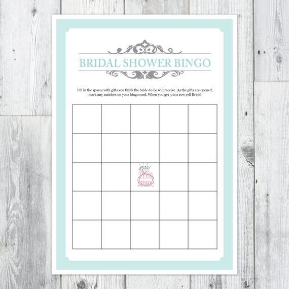 Bridal Shower Bingo Templates Items Similar to Bridal Shower Bingo Printable Card On Etsy