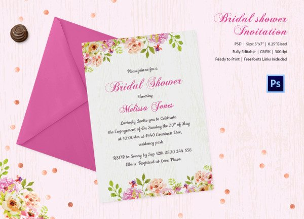 Bridal Shower Card Template 25 Bridal Shower Invitations Templates