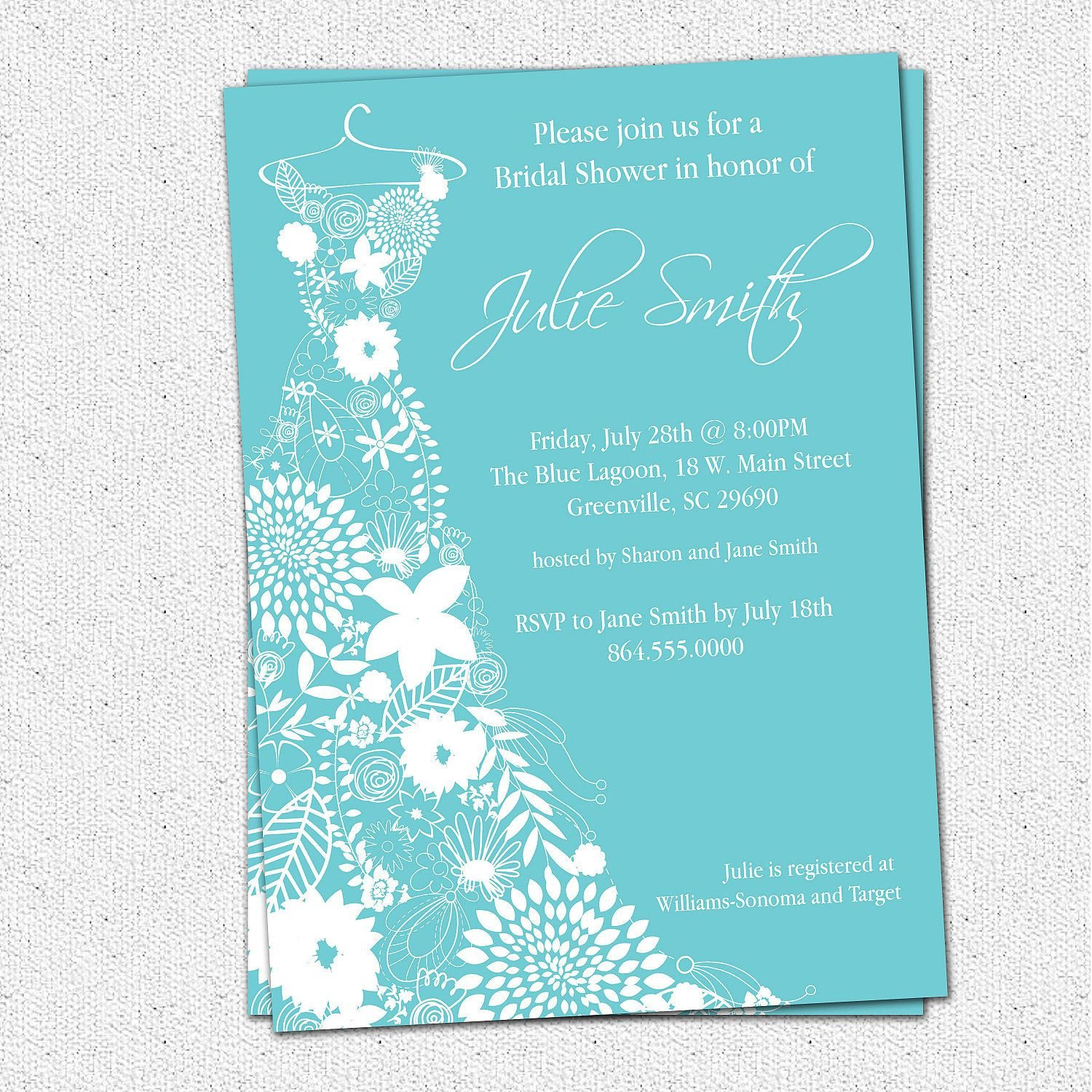 Bridal Shower Card Template Bridal Shower Invitation Bridal Shower Invitations