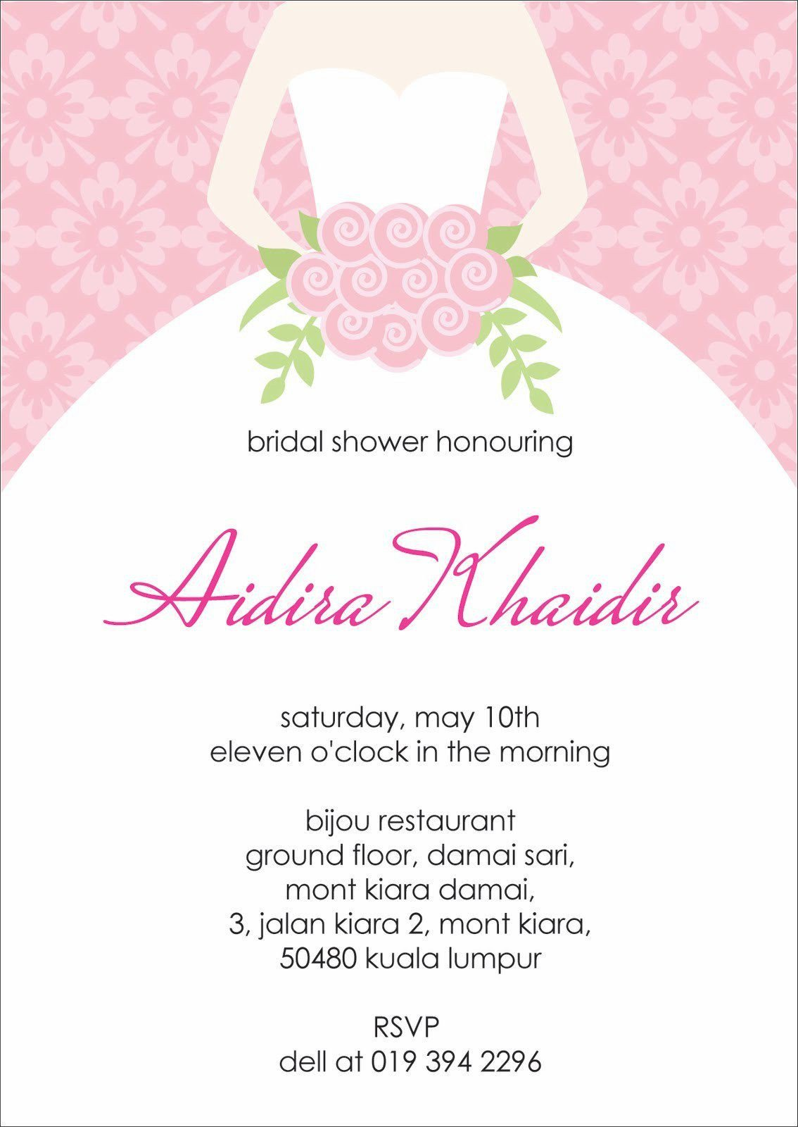 Bridal Shower Card Template Bridal Shower Invitations Bridal Shower Invitation