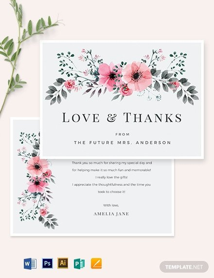 Bridal Shower Card Template Bridal Shower Thank You Card Template Download 324 Cards