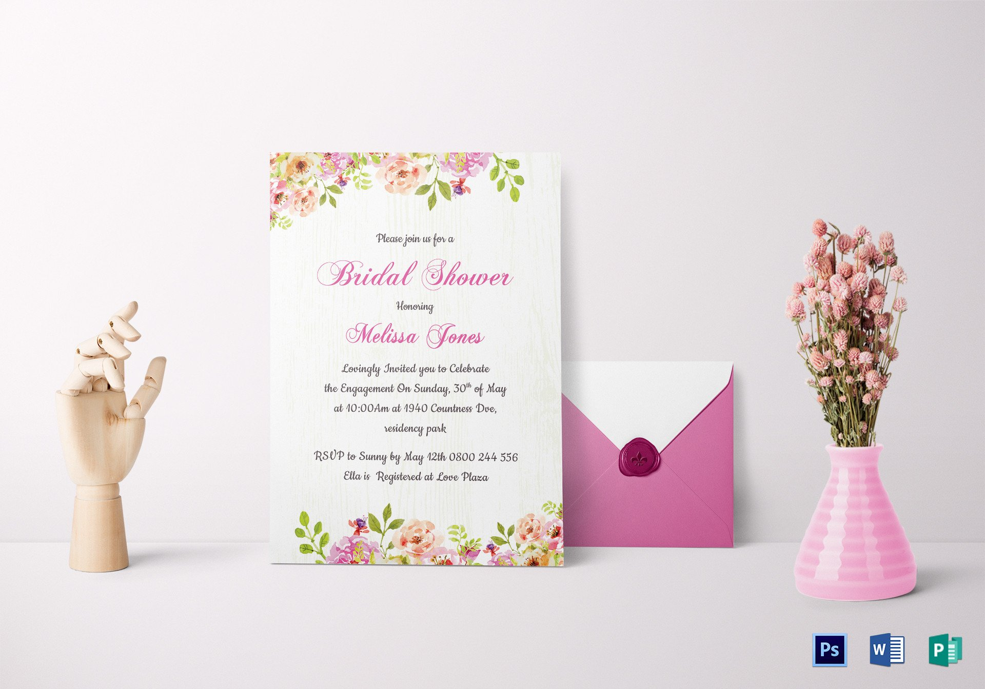 Bridal Shower Card Template Floral Bridal Shower Invitation Card Design Template In