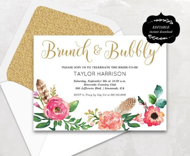 Bridal Shower Card Template Floral Bridal Shower Template Printable Bridal Shower