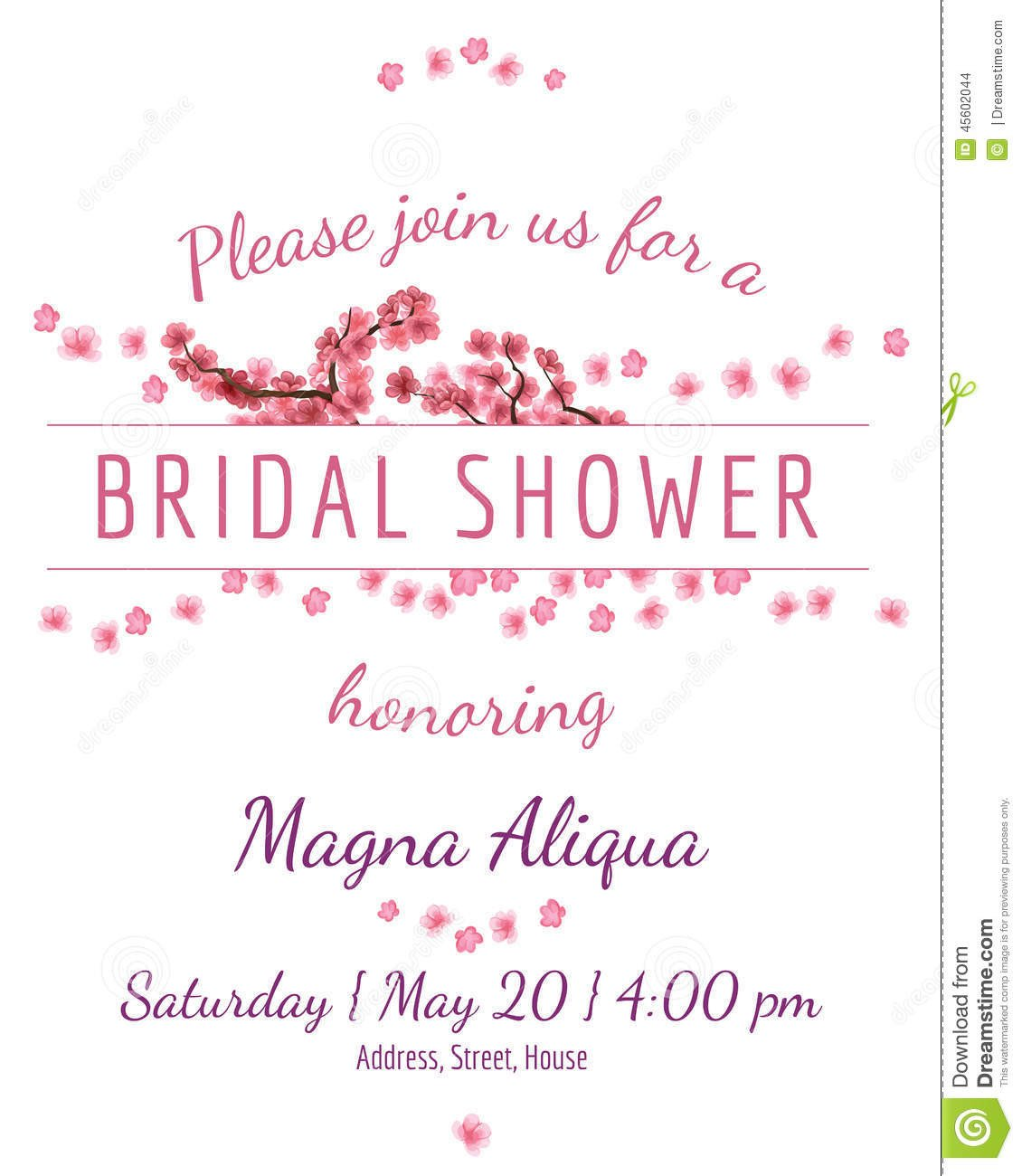 Bridal Shower Card Template Invitation Bridal Shower Card with Sakura Vector Stock