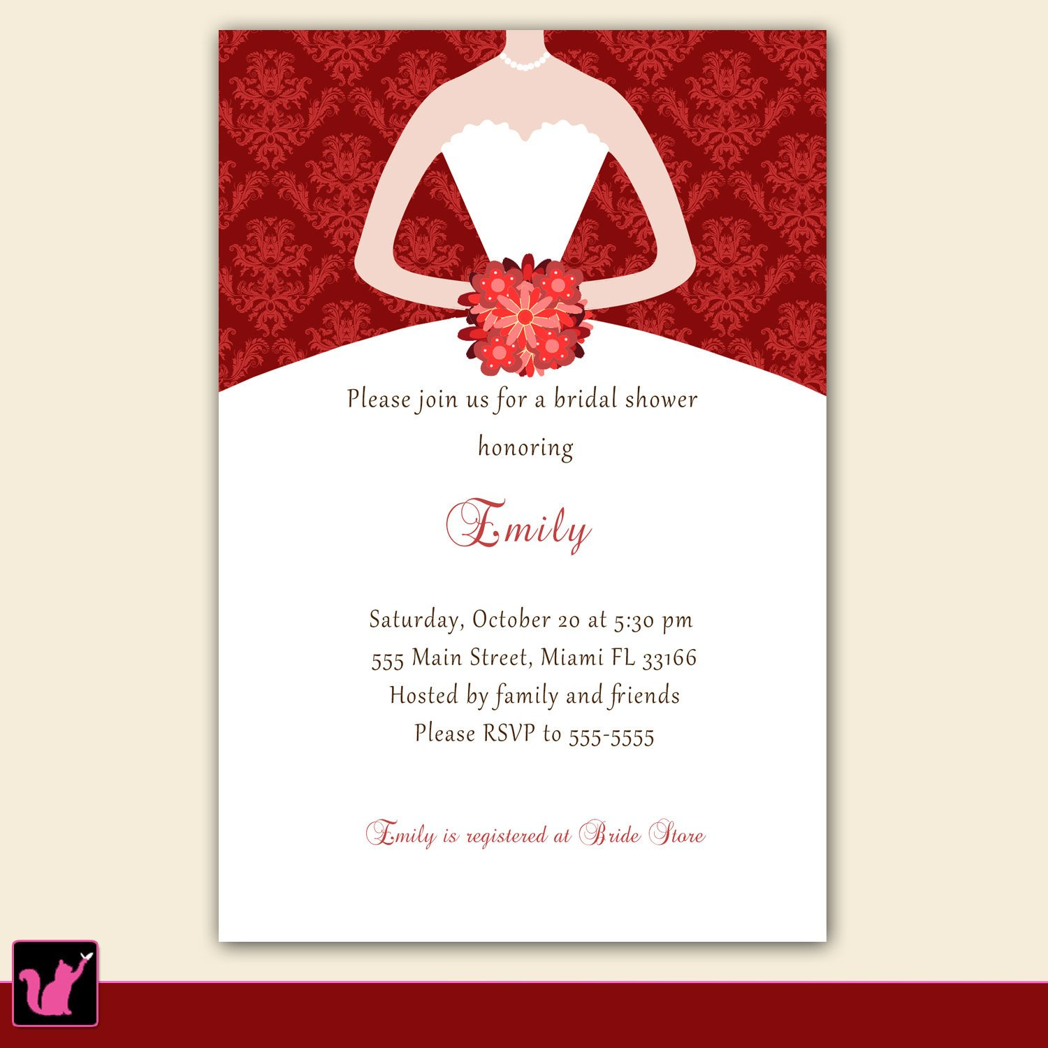 Bridal Shower Card Template Printable Personalized Christmas Bridal Shower Invitation Card