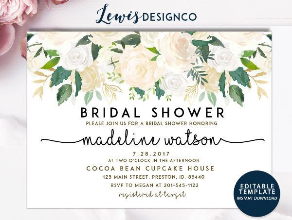 Bridal Shower Card Template Printable Wedding Cards