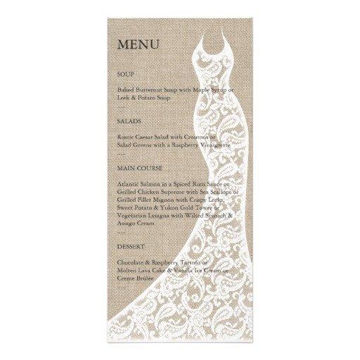 Bridal Shower Menu Template Beautiful Burlap Bridal Shower Menu Rack Card Template