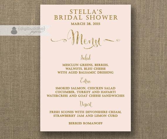 Bridal Shower Menu Template Blush Pink & Gold Menu Glitter Bridal Shower Bohemian Wedding