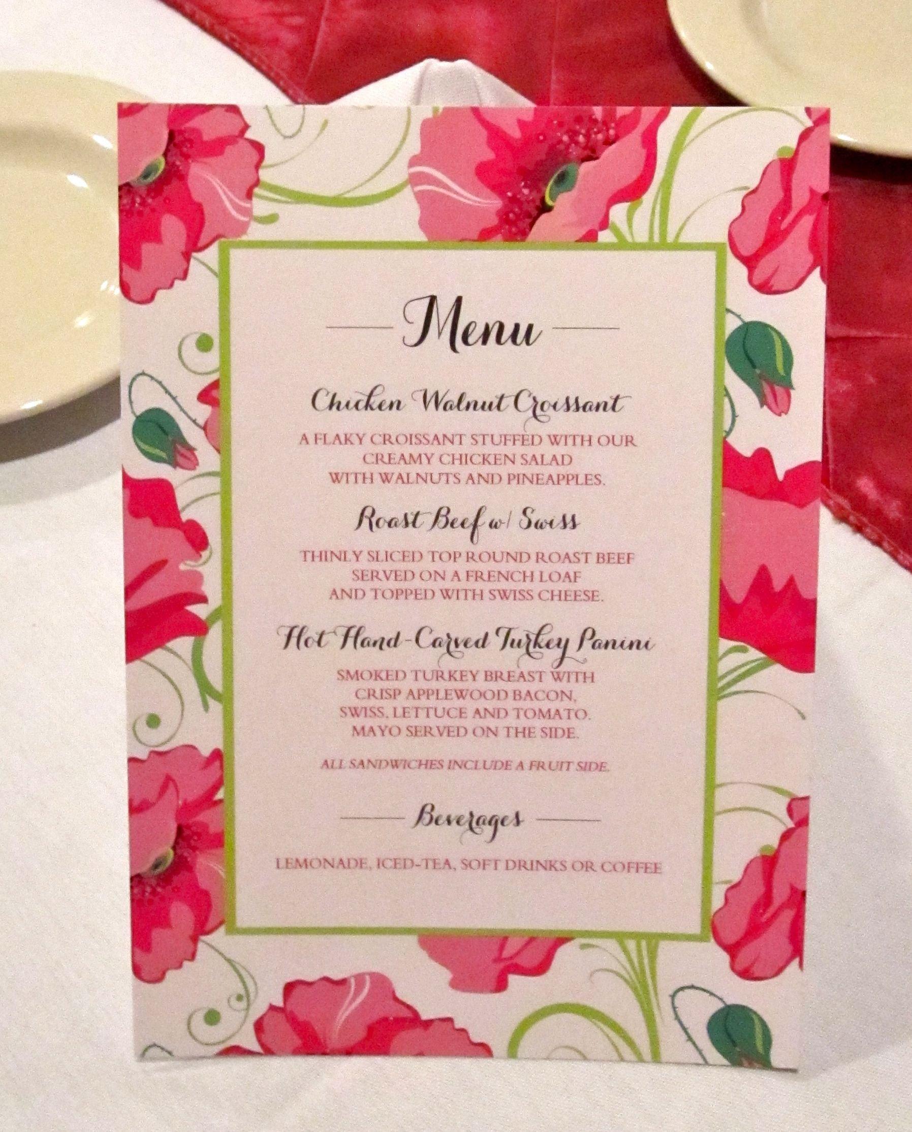 Bridal Shower Menu Template Bridal Shower Menu Card