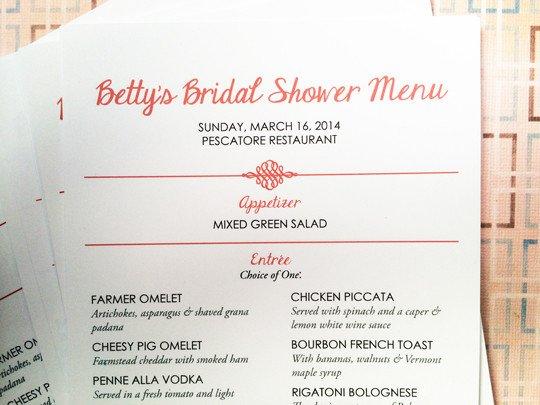 Bridal Shower Menu Template Bridal Shower Menu